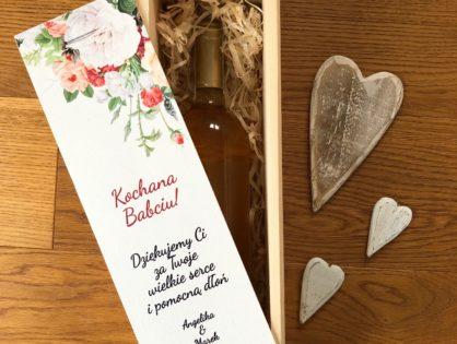 prezent dla babci i dziadka skrzynki drewniane na wino z nadrukiem